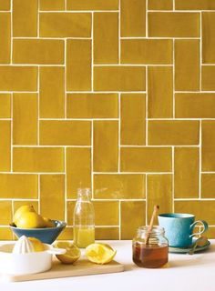 Kitchen backsplash ideas that will brighten and modernize your kitchen. with cabinets, diy for big and small kitchen - white or dark cabinets, yellow tile patterns Kitchen Time, Summer Kitchen, New Kitchen, Kitchen Yellow, Colourful Kitchen Tiles, Kitchen Ideas, Kitchen Tile Inspiration, Awesome Kitchen, Kitchen Wall Tiles