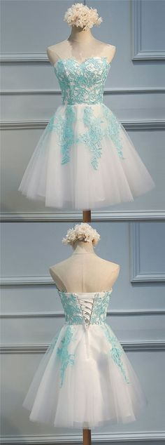 Short Homecoming Dress with Blue Appliques, Elegant Sweetheart Prom Dress, Lace-Up  Party Dress
