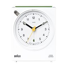 Braun Classic Analog Quartz Alarm Clock Quiet german precision quartz movement, voice activated snooze function, crescendo alarm wide x height x thick, battery included Analog Display Case Diameter: Diameter: Dieter Rams Design, Clocks By Coldplay, Analog Alarm Clock, Alarm Clocks, Classic Clocks, White Clocks, Tabletop Clocks, The Voice, Feathers