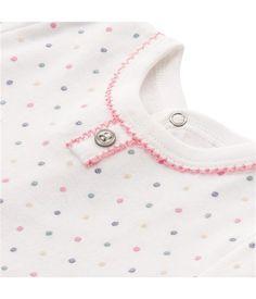 Babystrampler für Mädchen aus angerauter Baumwolle mit Pünktchenprint