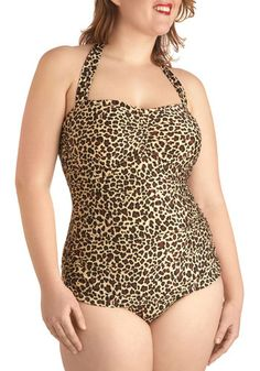 Bathing Beauty One Piece in Wild - Plus Size by Esther Williams - Brown, Tan / Cream, Animal Print, Beach/Resort, Summer, Pinup, Vintage Inspired, 40s, 50s, 60s