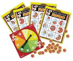 We had pizza for dinner as we played! Decimal, Fraction Bingo, Pizza Fractions, Math Night, Fun Math Games, Preschool Toys, Homeschool Math, Bingo Cards, Learning Resources