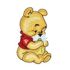 Baby Pooh with flower machine embroidery design Tigger And Pooh, Winnie The Pooh Honey, Pooh Bear, Bernina Embroidery Machine, Machine Applique, Free Machine Embroidery Designs, Broderie Anglaise Fabric, Walt Disney Princesses, Winnie The Pooh Pictures