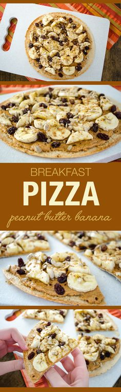 Peanut Butter Banana Breakfast Pizza - an easy, fun and delicious vegan and glut. - Peanut Butter Banana Breakfast Pizza – an easy, fun and delicious vegan and gluten free recipe Gluten Free Recipes, Vegan Recipes, Cooking Recipes, Easy Recipes, Vegan Breakfast Recipes, Brunch Recipes, Breakfast Ideas, Free Breakfast, Healthy Recipes