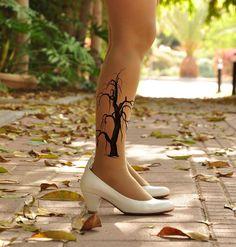 TREE+on+my+legs++Tattoo++Tights/+Pantyhose+/+socks++by+Hakosem,+$25.00