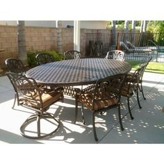 "Heritage Outdoor Living Elisabeth Cast Aluminum 9pc Outdoor Patio Dining Set w/70""X 100"" Egg Shaped Table - Antique Bronze Heritage Outdoor Living http://www.amazon.com/dp/B00EYZ0Z0M/ref=cm_sw_r_pi_dp_52C-vb10XJ19Z"