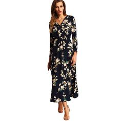 Cheap women maxi dress, Buy Quality maxi dress directly from China woman elegant Suppliers: SHEIN New Arrival Boho Women Maxi Dresses Navy V Neck Long Sleeve Womens Elegant With Button Floral Long Party Dress Shein Dress, Vestido Maxi Floral, Floral Tunic, Floral Sleeve, Floral Chiffon, Chiffon Dress, Moda Do Momento, Maxi Robes, Maxi Dresses