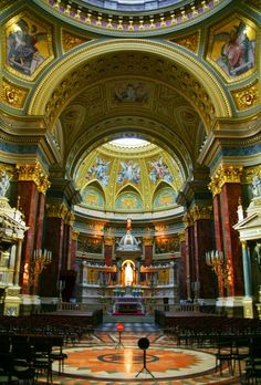 Interior of the St. Stephen's Basilica..Budapest