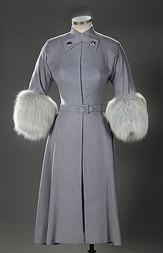 Wool coatdress with fox fur cuffs worn by Susan Hayward in I'll Cry Tomorrow (1955) Film Costumes, Harry Ransom Center