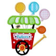 Boutique machine applique design BALLOON CART carnival circus birthday.