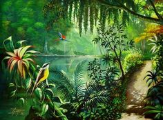 Jungle Scene Painting - Acrylic Painting Into The Jungle Jungle Mural Jungle Art Jungle Scene Painting By Ashok Sharma Parrots Jungle Love Scene By Drinka Mercep In 2020 Jung. Landscape Drawings, Landscape Art, Landscape Paintings, Landscape Photography, Flower Landscape, Jungle Scene, Jungle Art, Arte Bar, Jungle Pictures