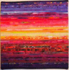 "Sara Kelly Art Quilts: Sunset 12""x12"""