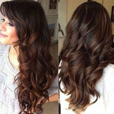 Resultado de imagem para light brown balayage on dark hair Dark Hair With Highlights, Balayage Highlights, Brown Balayage, Caramel Balayage, Auburn Balayage, Ombre Brown, Subtle Ombre, Honey Balayage, Color Highlights