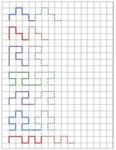 reproduction on graph paper with fading cues. Great idea for pencil control skills - and visual skills, as well!Pattern reproduction on graph paper with fading cues. Great idea for pencil control skills - and visual skills, as well! Visual Motor Activities, Visual Perceptual Activities, Therapy Activities, Preschool Activities, Pre Writing, Writing Skills, Vision Therapy, Kids Education, Health Education