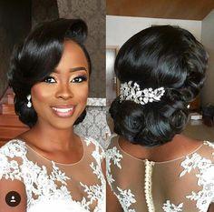 Black Brides Hairstyles, Bun Hairstyles, Beautiful Hairstyles, Hairstyles 2018, School Hairstyles, Updo Hairstyle, Natural Hair Bun Styles, Curly Hair Styles, Wedding Hair And Makeup