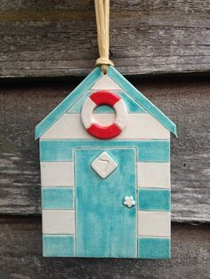 Handmade Ceramic Beach Hut Hanging £18.00 More