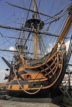 HMS Victory was Nelsons flagship at the battle of Trafalgar when the French were soundly defeated on 21st October 1805, but that was also the day of the Admirals death during the battle. Stock Photo