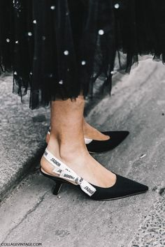 dior pumps ribbon | Street Style Paris Haute Couture | Collage Vintage
