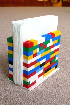 DIY Lego napkin holder - how cute is this for a kids' party!