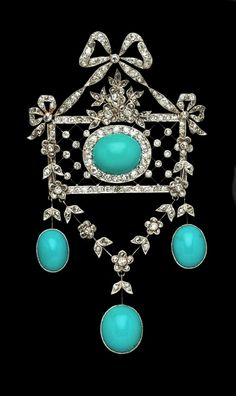Edwardian turquoise and diamond-set pendant / brooch.