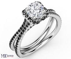 Engagement Ring - Engagement Ring Black Diamond Band in 14K White Gold - ES1000