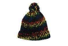 Beanie hat, handknit, black, rainbow, with pom pom item BBV1