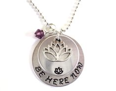 Be Here Now Necklace Hand Stamped Namaste Lotus Yoga Jewelry Engraved Unique Gift For Her Christmas Stocking Stuffer Under 50 Item N1 by BohemianEarthDesigns on Etsy https://www.etsy.com/listing/168050756/be-here-now-necklace-hand-stamped