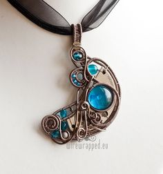 OOAK Steampunk crescent moon wire wrapped pendant. €45,00, via Etsy.