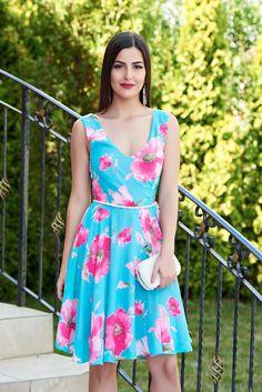 Rochie StarShinerS Glam Flower Turquoise. Culoare curelei poate diferi.