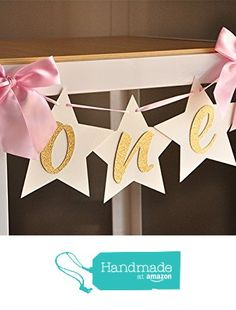 Twinkle Twinkle Little Star First Birthday. One Highchair Banner. Pink and Gold…