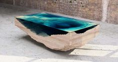 Layered Glass and Wood Table Looks Like Ocean Depths