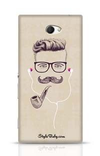 Hipster With Smoking Pipe And Earphones Sony Xperia M2 Phone Case