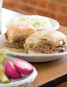 A French Dip sandwich - the original - from Philippes (downtown Los Angeles).