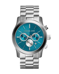Michael Kors Oversize Silver Color Stainless Steel Runway Chronograph Watch.