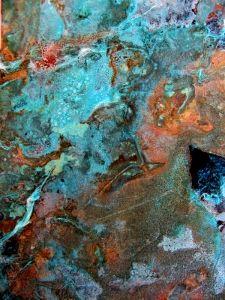 the colors of copper patina (verdigris)