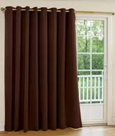 """Supreme Blackout Grommet Top Patio Panel With Detachable Wand Country Curtains $150 112"""" wide per pair Grommets measure 2-1/2"""" outside diameter Grommets are antique bronze-colored These curtains are woven in 3 layers using a tight weave of colored yarns on the front & back, sandwiched around an inner layer of black yarns 100% Polyester Imported Machine Washable Available in Espresso, Sage, Sand or Stone"""