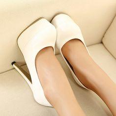 All Match White Patent Leather Stiletto Pumps for Work   martofchina.com