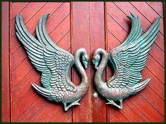 *Romantic Feng Shui* Swans (door handles) mate for life. Placed on your door mark who lives inside and how YOU + your beloved are reflected to the outside world.