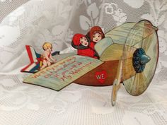Vintage 1920s Bi Plane Valentine Card by SylviasFinds on Etsy, $8.00