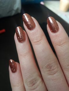Pic doesn't do them justice! CND shellac burnt orange with rose gold glitter ♡