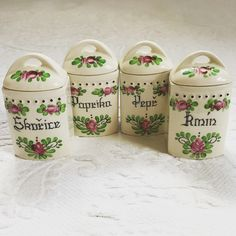 Lovely set of 4 spice jars with lids, hand painted roses czech language: cinnamon pepper caraway paprika *CONDITION: excellent vintage condition *MEASUREMENTS: 4 high with lid 2 x Spice Containers, Spice Jars, Kitchen Canisters, Vintage Kitchen Decor, Indoor Garden, Spices, Language, Hand Painted, Etsy
