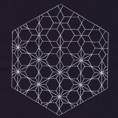 The technique of Japanese embroidery Sashiko # # . Hardanger Embroidery, Learn Embroidery, Ribbon Embroidery, Embroidery Stitches, Embroidery Designs, Quilting Designs, Shashiko Embroidery, Diy Broderie, Hexagon Pattern