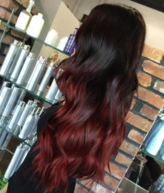 60 Best Ombre Hair Color Ideas for Blond Brown Red and Black Hair Ombre Hair C Brown Hair Dyed Red, Dark Red Hair With Brown, Black Hair Ombre, Ombre Blond, Best Ombre Hair, Dark Brown, Black To Red Hair, Red Dip Dye Hair, Brown To Red Ombre