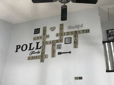 """Our new """"scrabble"""" wall. Family names all in one puzzle. Scrabble Wall, Family Names, Room Ideas, Puzzle, Living Room, Home Decor, Puzzles, Decoration Home, Room Decor"""