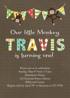 Monkey first birthday invitation, with banner, digital, printable file (item 254) baby shower invite