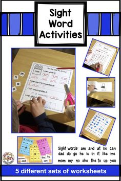 Be sure to check out this set of printables for reinforcing 22 sight words at the kindergarten level. There are 5 different work sheets and games for literacy centers or for the students to do at home. Number Line Activities, Sight Word Activities, Alphabet Activities, Teaching Sight Words, Teaching Phonics, Kindergarten Lesson Plans, Kindergarten Reading, Bingo Cards, Task Cards