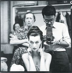 Diana Vreeland, model Dovima, and Richard Avedon on a shoot for Harper's Bazaar, July 1955.