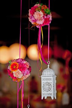 Moroccan-inspired decor - hanging lanterns and pomanders