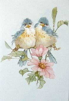 Carolyn Shores Wright Blue Birds Pink Flower Blossoms - 999 x 1456