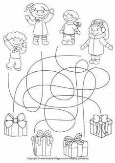 Christmas Present Match Up Christmas Maze, Christmas Games For Family, Christmas Decorations For Kids, Preschool Christmas, Christmas Activities, Kids Christmas, Christmas Presents, Christmas Crafts, Preschool Worksheets